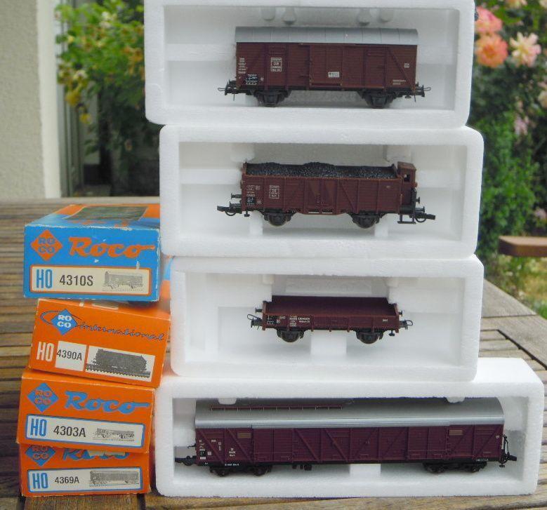 Roco 4303a, 4310s, 4369a, 4390a Bundle 4 Piece Freight Wagon DB Ep. BNIB