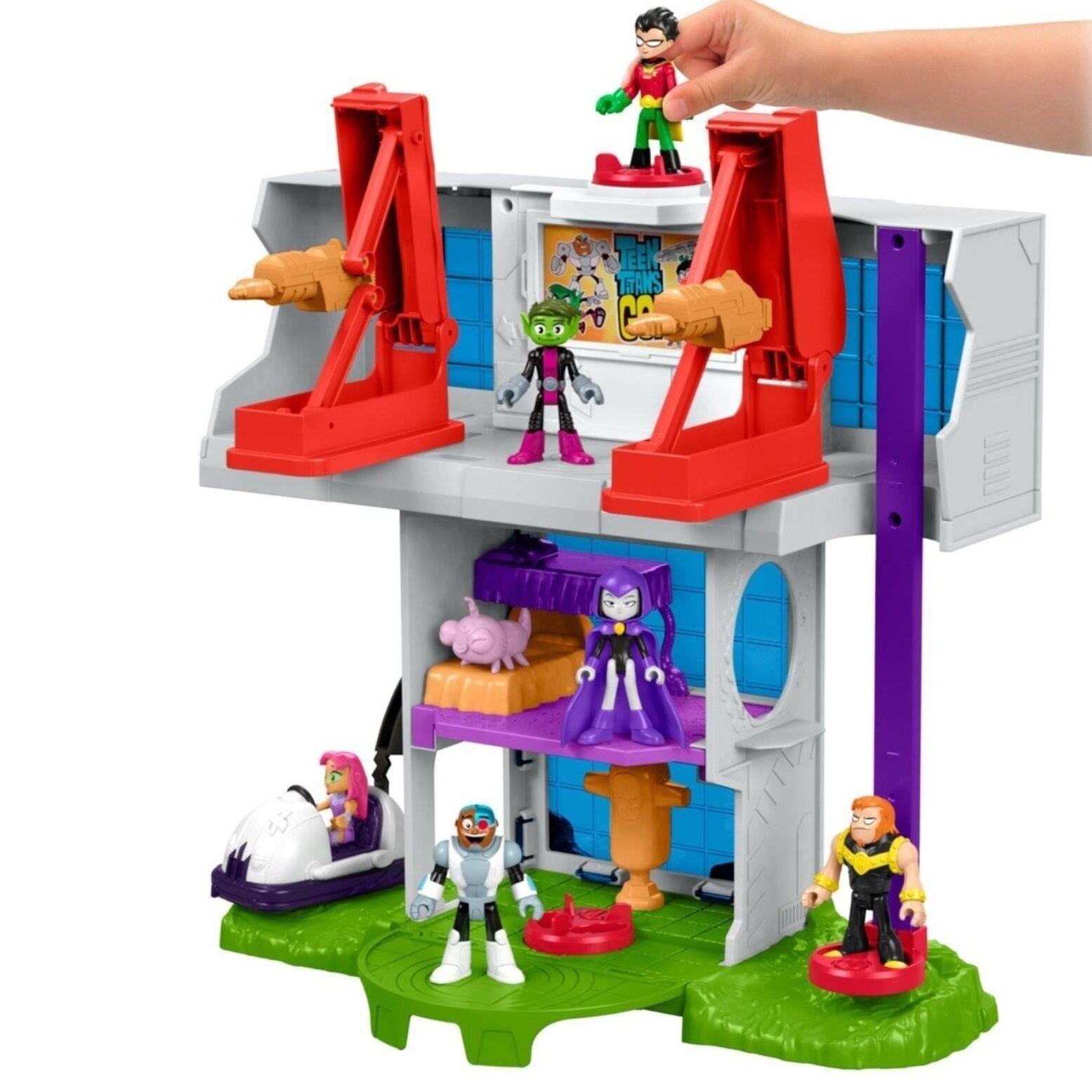Imaginext teen - titanen tower playset, robin mammut und geist action - figuren