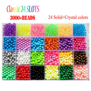 3000//5200 SUPER REFILL DIY Aquabeads Water Fuse Beads 24 SEPARATE Color Packing