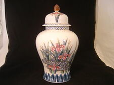 VINTAGE JAPANESE GINGER JAR WITH PINK AND BLUE IRIS SIGNED AYAME MADE IN JAPAN