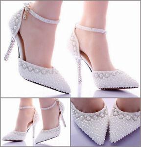 27d21e700f1e Das Bild wird geladen Pumps-weiss-Perlen-Hochzeit-High-Heels-Schuhe- Brautschuhe-