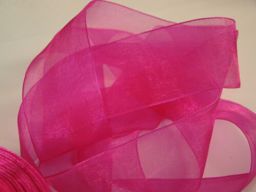 2 /& 5 M 38 MM WOVEN EDGE SHEER ORGANZA CHIFFON RIBBON HIGH QUALITY 13 COLORS 1