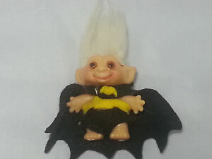 "VINTAGE 1960s Dam 2.5"" Troll Doll Blonde Hair Amber Eyes Felt Batman Outfit"