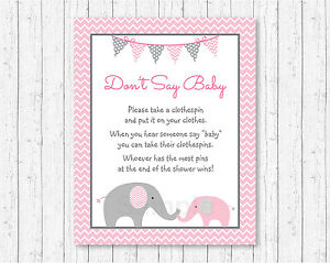 photo regarding Don T Say Baby Game Printable known as Detalles acerca de Chevron Rosa Elefante no decir Little one Youngster Shower Juego Imprimible- mostrar título initial