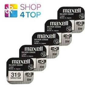 5 MAXELL 319 SR527SW SR64 BATTERIES SILVER 1.55V WATCH BATTERY EXP 2022 NEW