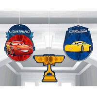 Cars 3 Honeycomb Decorations (3) Birthday Party Supplies Paper Decor Hanging
