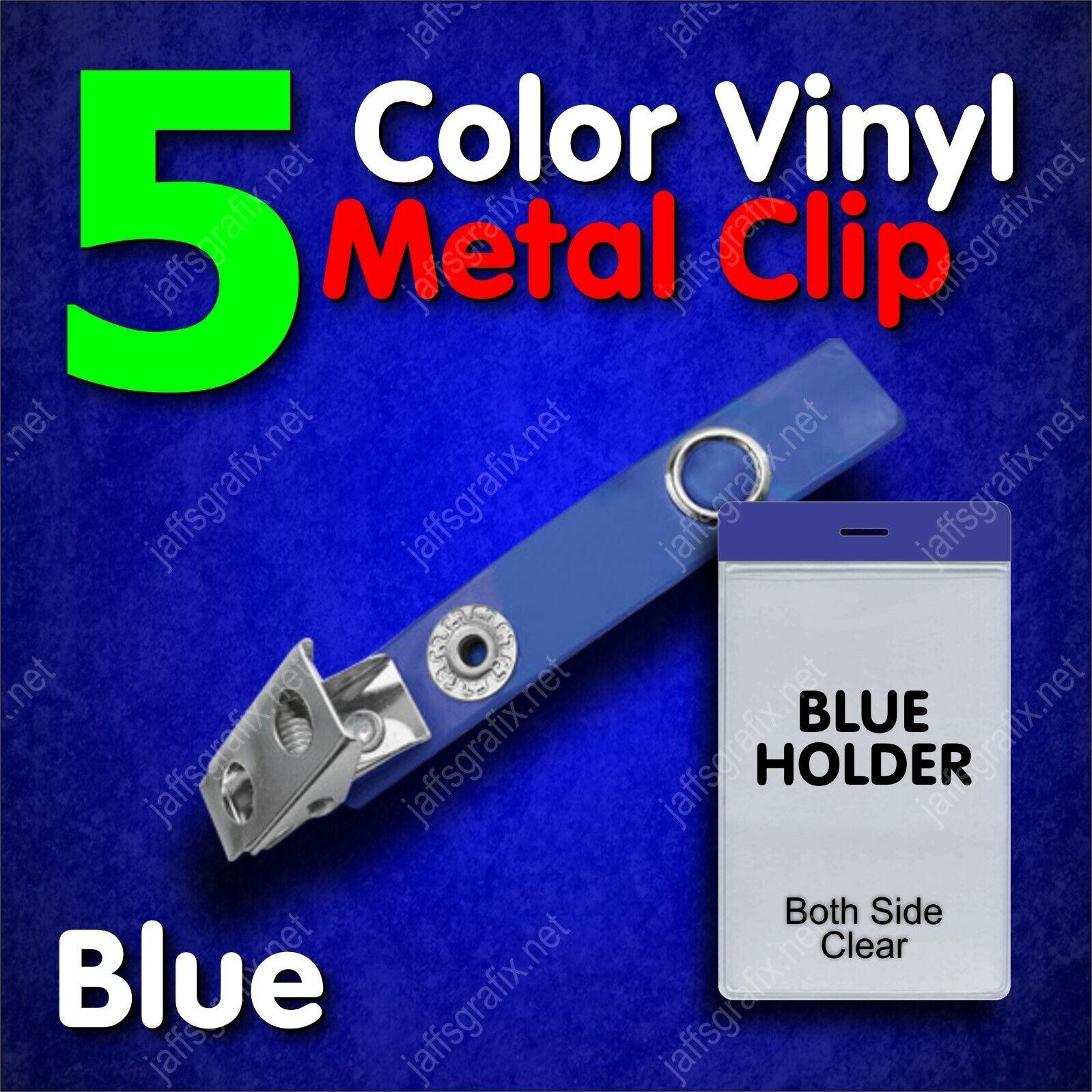 Color Metal ID Badge Holder Clip with Blue Holder Vertical