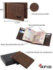 Mens-Leather-Wallet-Slim-Money-Clip-Bifold-RFID-Front-Pocket-Card-Holder-GiftBox