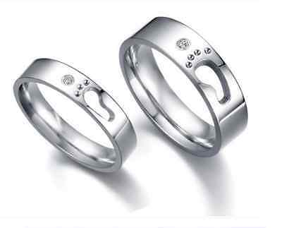 High Quality 316L Stainless Steel Love Footprint Love Couple Rings Wedding rings