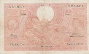 Belgium-1944-100-Francs-Vintage-Banknote-Pick-114-Flemish-Text-on-Front-VF