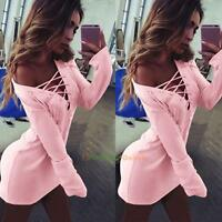 Sexy UK Ladies Bandage Bodycon Long Sleeve Evening Party Cocktail Mini Dresses