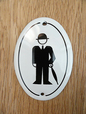 FANTASTIC SMALL ENAMEL GENTLEMAN BOWLER HAT AND UMBRELLA TOILET WC DOOR SIGN