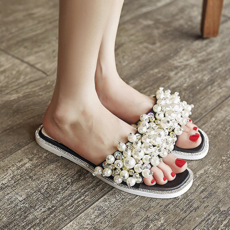 Summer Rhinestone Womens Pearl Decor Casual open Toe Sandals Sweet Slipper shoes