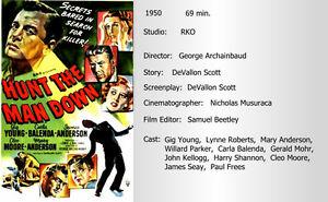 FILM NOIR X29 HUNT THE MAN DOWN 1950 George Archainbaud Gig Young - Glasgow, Strathclyde, United Kingdom - FILM NOIR X29 HUNT THE MAN DOWN 1950 George Archainbaud Gig Young - Glasgow, Strathclyde, United Kingdom