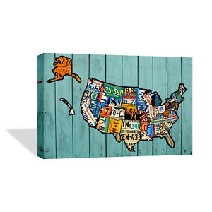 United States Map Wall Decor.Decorative Canvas Print United States Plate Map Wall Decor Ready To