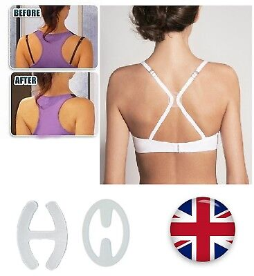 4pcs Racer Bra Clips Invisible Straps Cleavage Enhancer Low Back Bra Converter