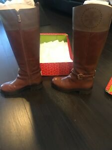 Tory-Burch-Daniella-Women-Boots-Knee-Riding-Leather-Brown-Shades-Zise-6M