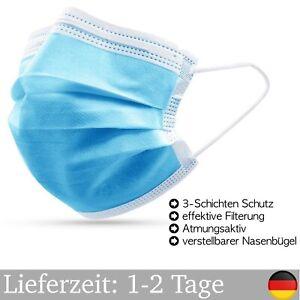 100X Mundschutz Maske CE Zertifiziert OP Einweg 3-Lagig Blau Atemschutzmasken