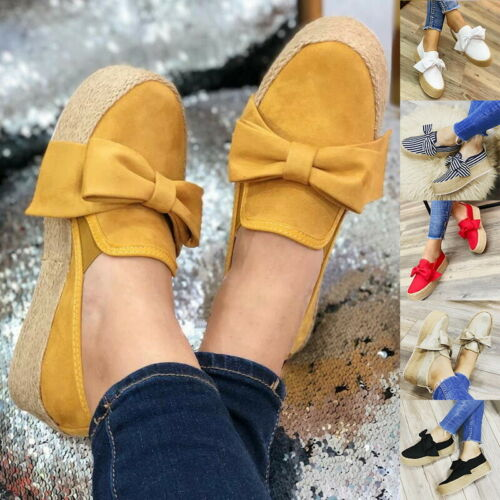 Fashion Women/'s  Platform Bow Trainers Solid Color Pumps Slip On Flat Sneakers