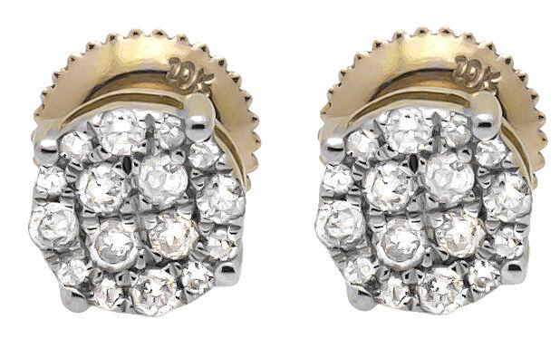 10K Yellow gold 6MM Round Halo Cluster Genuine Diamond Stud Earring 0.40ct.