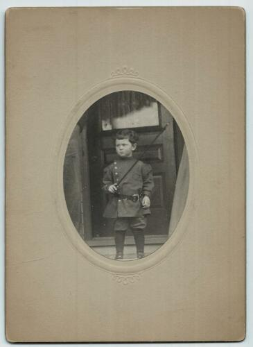 Antique Cabinet Photo of Little Boy in Military Uniform w Sword