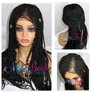 Cornrow Braided Wig Braided Wig Handmade 4 By 4 Closure Box