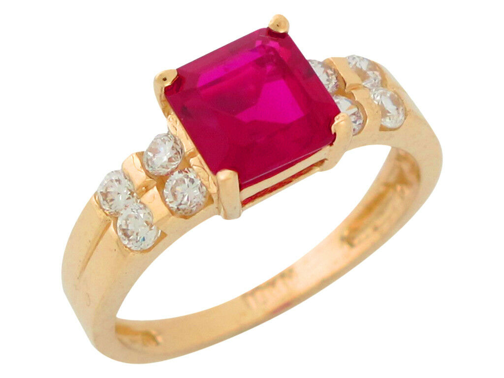 10k or 14k Yellow gold Simulated Ruby White CZ Ladies July Birthstone Ring