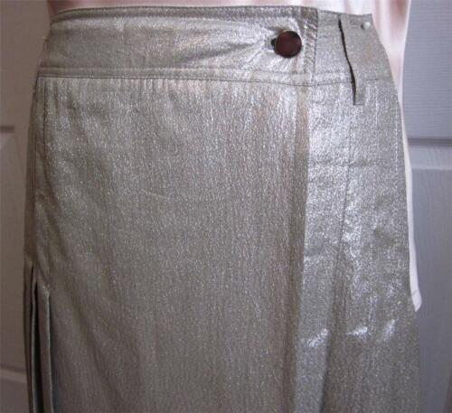 PRADA RUNWAY SILVER METALLIC PLEATED WRAP SKIRT Sz