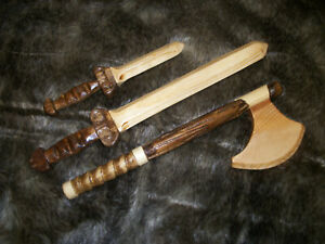 Small Wooden Deluxe Toy Battle Axe for Children Ages 2-4 Viking Saxon Warrior