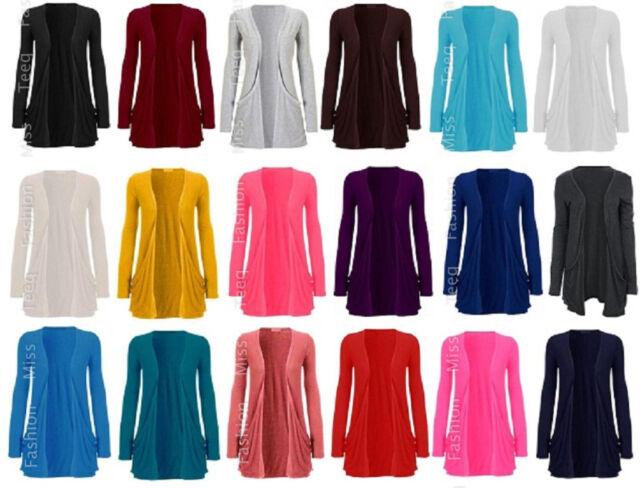 New Ladies Pocket Long Sleeve Cardigan Womens Top Size 8-14