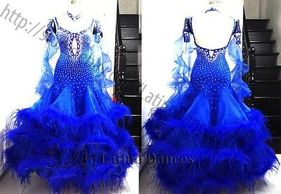 Feather Ballroom / Standard Waltz Dance Dress With High Quality Rhinestone ST74