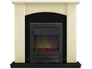 Adam Holden Fireplace Suite in Cream with Colorado Electric Fire in Black, 39...