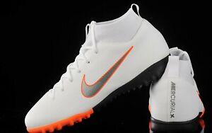 5b1e405dfc64 Nike Jr MercurialX Superfly 6 Academy GS TF - White / Metallic Grey ...