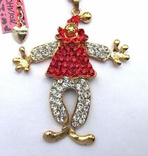 Betsey Johnson Flashes red crystal Lovely clown pendant Necklace