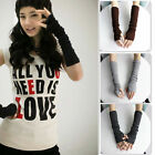Ladies Women Wrist Arm Hand Warmer Knitted Long Fingerless Gloves Mittens New