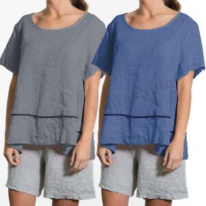 65e322c602c2 Summer Womens Ladies Short Sleeve Crew Neck Casual Loose T-Shirt ...