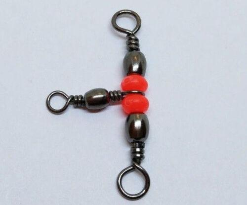 10x T-Wirbel 3-Weg-Wirbel mit Perlen 25x14 mm bis 13kg Kreuzwirbel