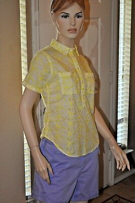 Merona Women/'s Blouse Short Sleeve Yell Floral Embroidery 1//2 Button DN Multi SZ
