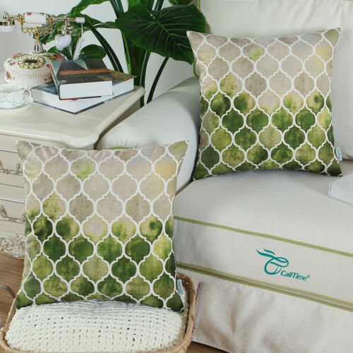 2Pcs CaliTime Pillow Cases Cover Couch Bed Sofa Geometric Chains 22 X 22 Inches