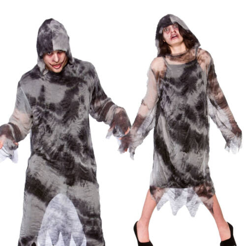 Zombie Robe con cappuccio donna DA UOMO GRIGIO NERO HORROR HALLOWEEN FANCY DRESS