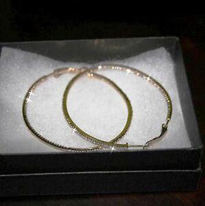 Diamond-Alternatives-Inside-Out-Hoop-Earrings-2-Inch-14k-Yellow-Gold-over-925-SS