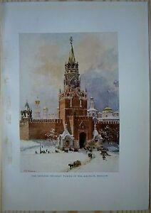 RUSSIA-SPASSKAYA-TOWER-OF-MOSCOW-KREMLIN-color-plate-1913-33
