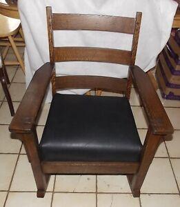 Quartersawn Oak Mission Rocker Rocking Chair By Oak Craft R32 Ebay