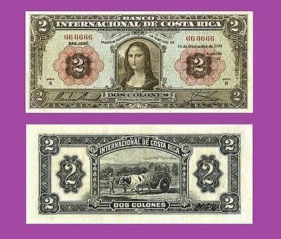 Costa Rica 2 Colones 1934.Mona Lisa  UNC Reproductions