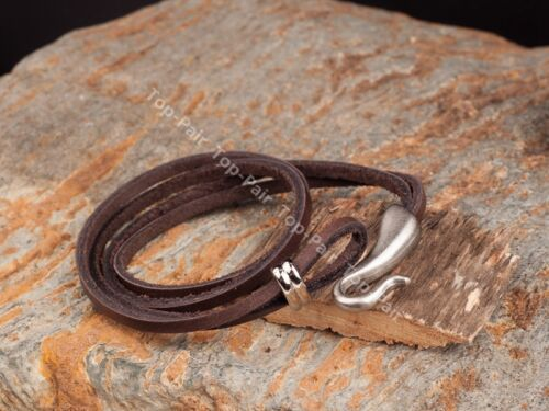 Mens Quality 2 Rounds Long Cow Leather Bracelet Wristband Cuff With Hook Clasp