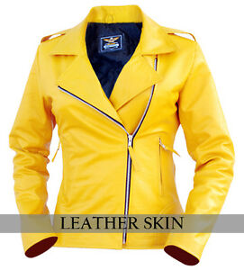 799491899520 Skin Leather Yellow Jacket Brando Genuine Women UUrSBY