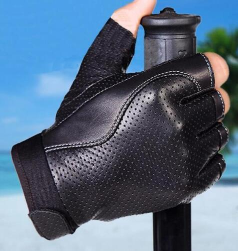 Fingerless Faux Leather Gloves Motorcycle Cycling Outdoor Driving Gym Gloves