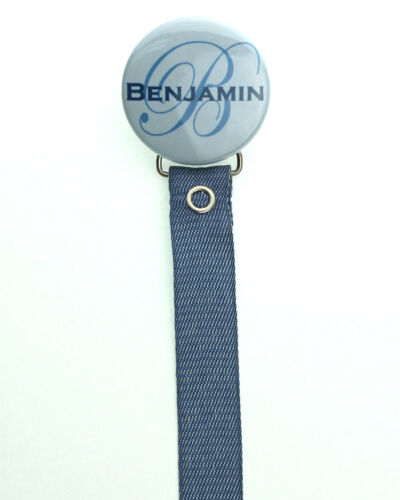 Personalized Name Denim Baby Pacifier Clip