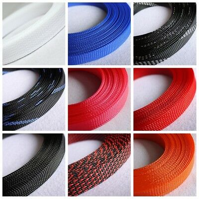 3//4//6//8//10//12//40mm Weave Expandable Braided Cable Sleeving Fluorescent Blue
