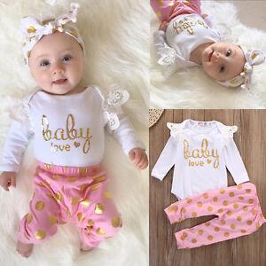 bab8fca3cc7 Image is loading Baby-Girls-Infant-Newborn-Playsuit-Bodysuit-Romper-Leggings -